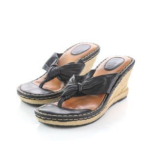Born Black Leather Thong Style Espadrilles Wedges